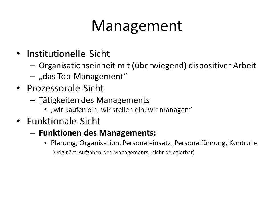 Management Institutionelle Sicht Prozessorale Sicht Funktionale Sicht