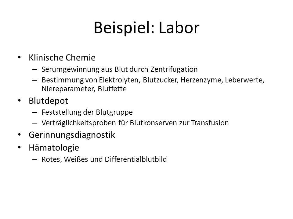 Beispiel: Labor Klinische Chemie Blutdepot Gerinnungsdiagnostik