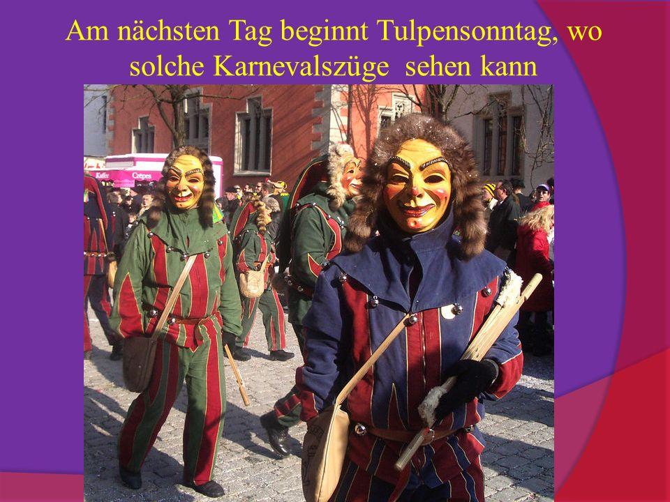 Am nächsten Tag beginnt Tulpensonntag, wo solche Karnevalszüge sehen kann
