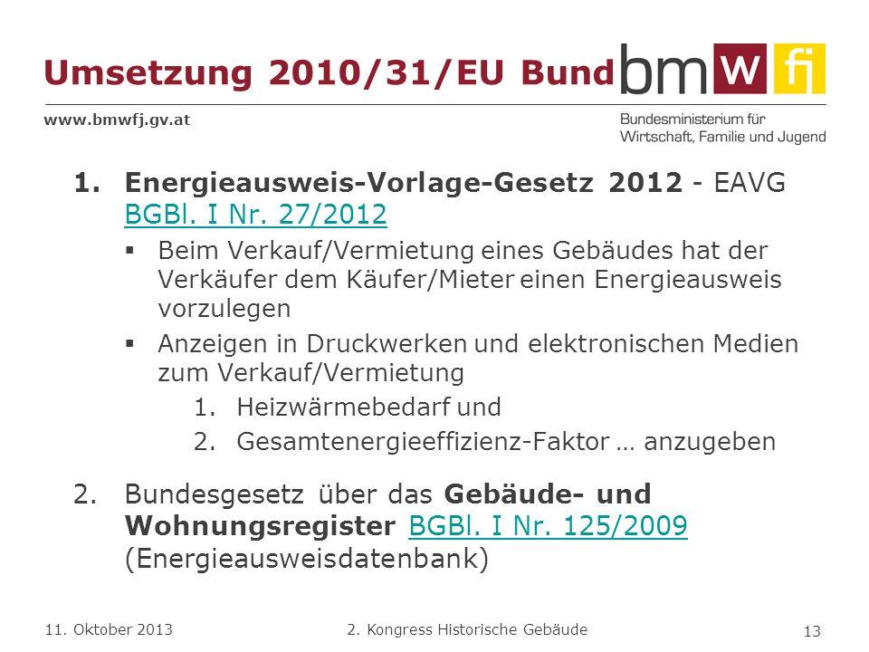 Umsetzung 2010/31/EU Bund Energieausweis-Vorlage-Gesetz 2012 - EAVG BGBl. I Nr. 27/2012.
