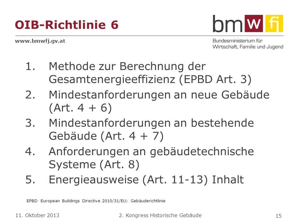 OIB-Richtlinie 6 Methode zur Berechnung der Gesamtenergieeffizienz (EPBD Art. 3) Mindestanforderungen an neue Gebäude (Art. 4 + 6)