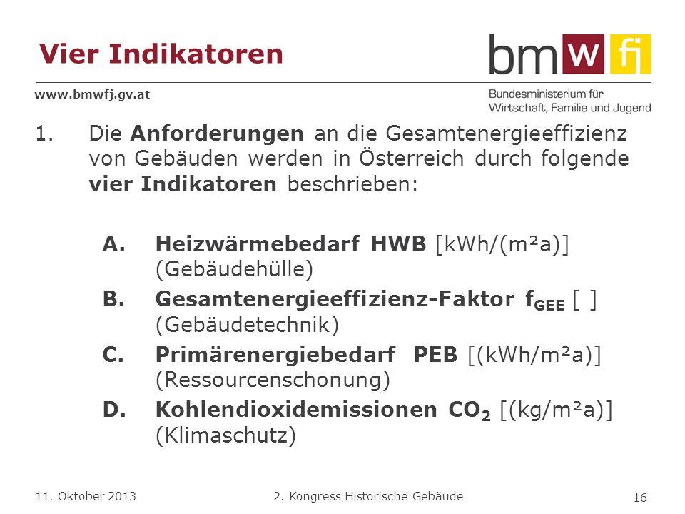 Vier Indikatoren Die Anforderungen an die Gesamtenergieeffizienz von Gebäuden werden in Österreich durch folgende vier Indikatoren beschrieben:
