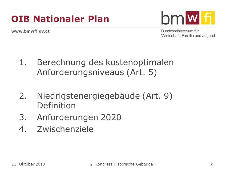 OIB Nationaler Plan Berechnung des kostenoptimalen Anforderungsniveaus (Art. 5) Niedrigstenergiegebäude (Art. 9) Definition.