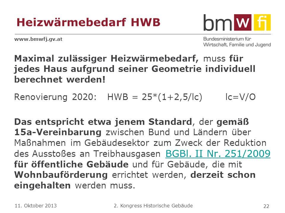 Heizwärmebedarf HWB Maximal zulässiger Heizwärmebedarf, muss für jedes Haus aufgrund seiner Geometrie individuell berechnet werden!