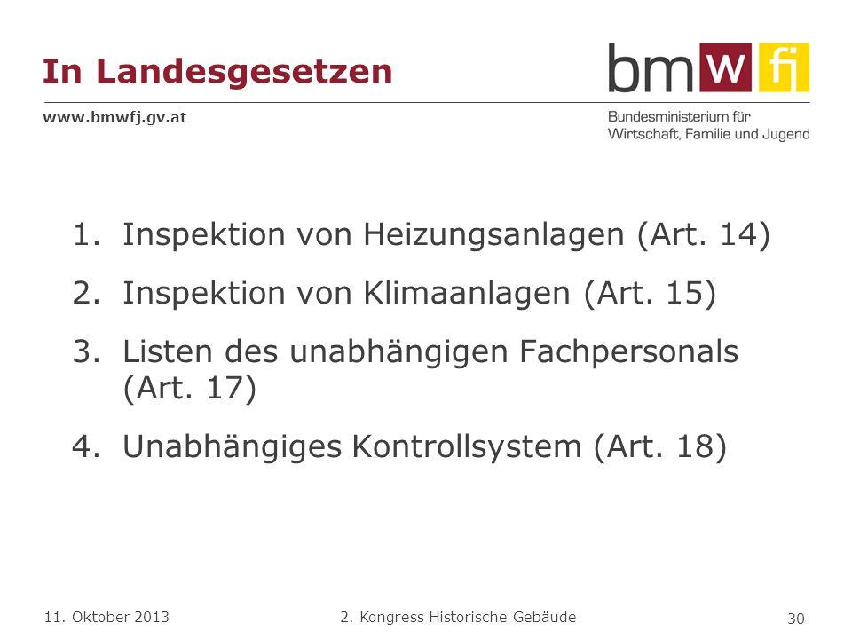 In Landesgesetzen Inspektion von Heizungsanlagen (Art. 14)