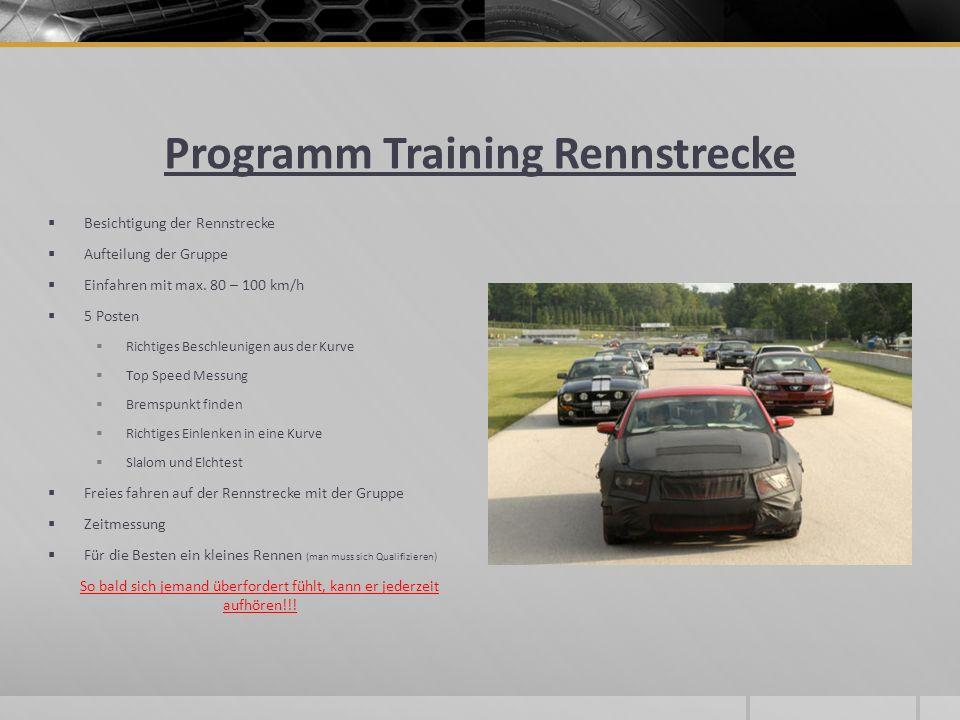 Programm Training Rennstrecke