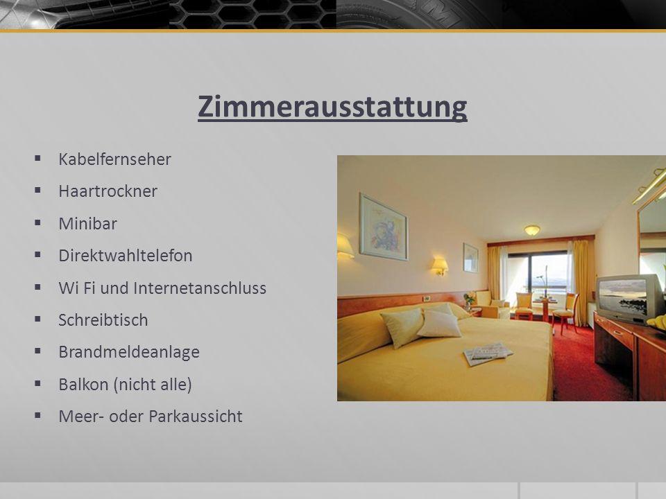 Zimmerausstattung Kabelfernseher Haartrockner Minibar