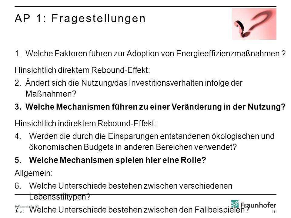 AP 1: Fragestellungen Welche Faktoren führen zur Adoption von Energieeffizienzmaßnahmen Hinsichtlich direktem Rebound-Effekt: