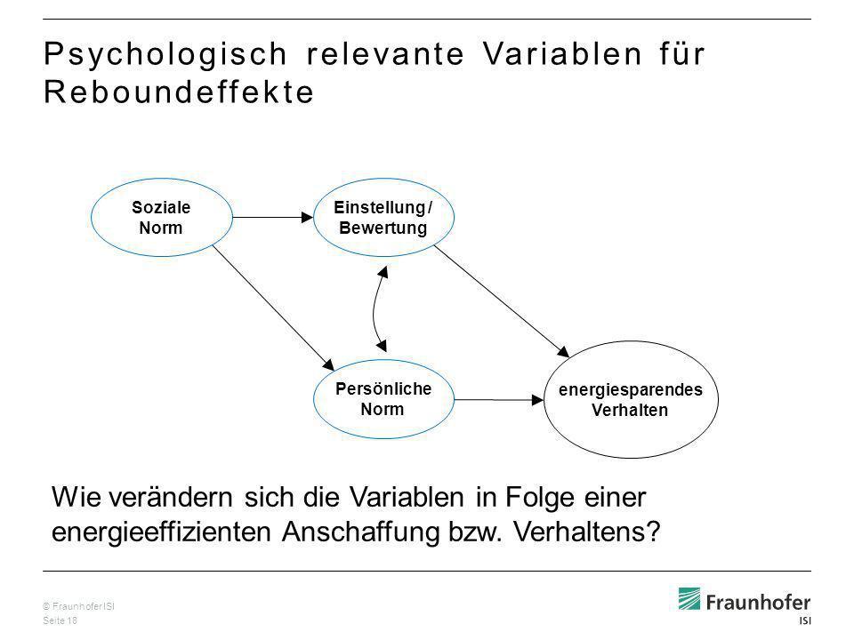 Psychologisch relevante Variablen für Reboundeffekte