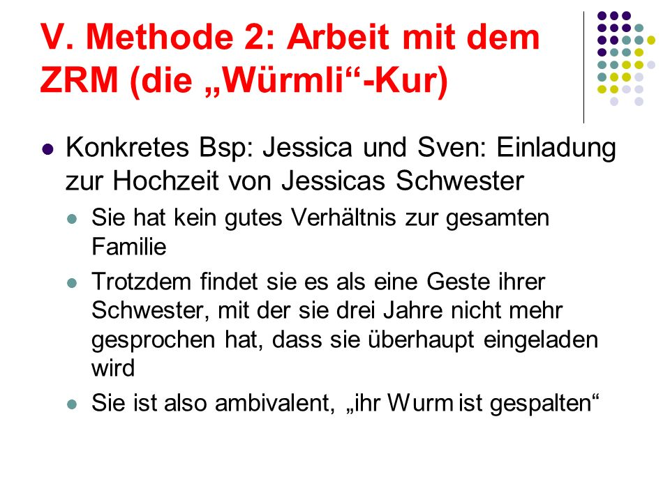 "V. Methode 2: Arbeit mit dem ZRM (die ""Würmli -Kur)"