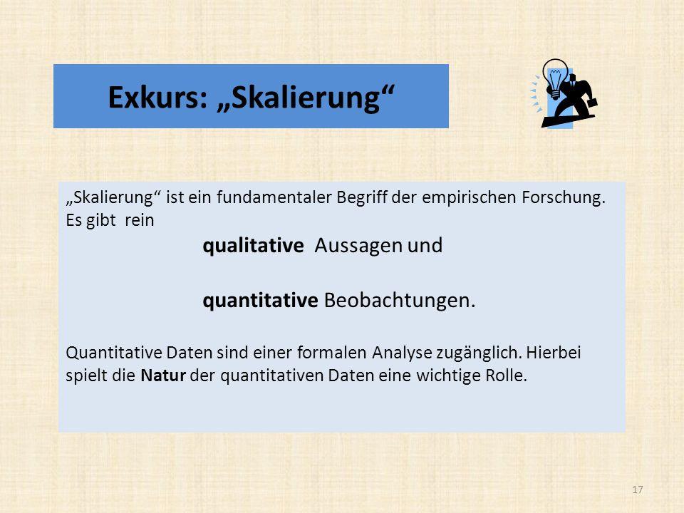 """Exkurs: """"Skalierung quantitative Beobachtungen."""