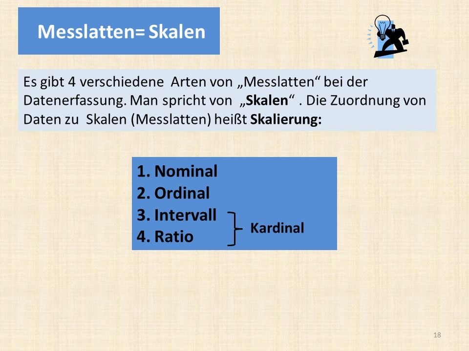 Messlatten= Skalen Nominal Ordinal Intervall Ratio