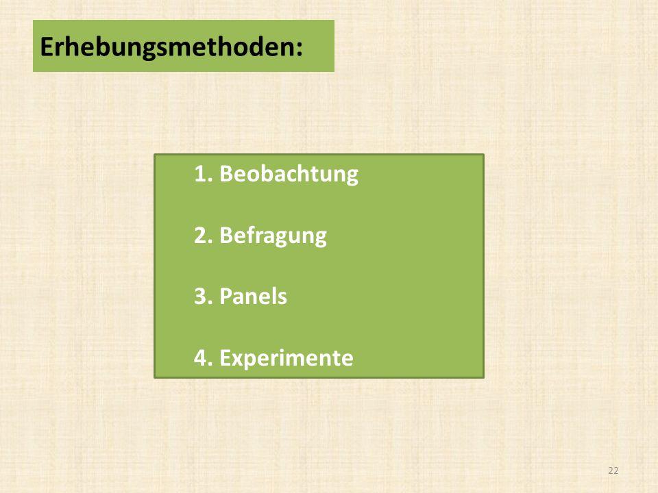 Erhebungsmethoden: 1. Beobachtung 2. Befragung 3. Panels