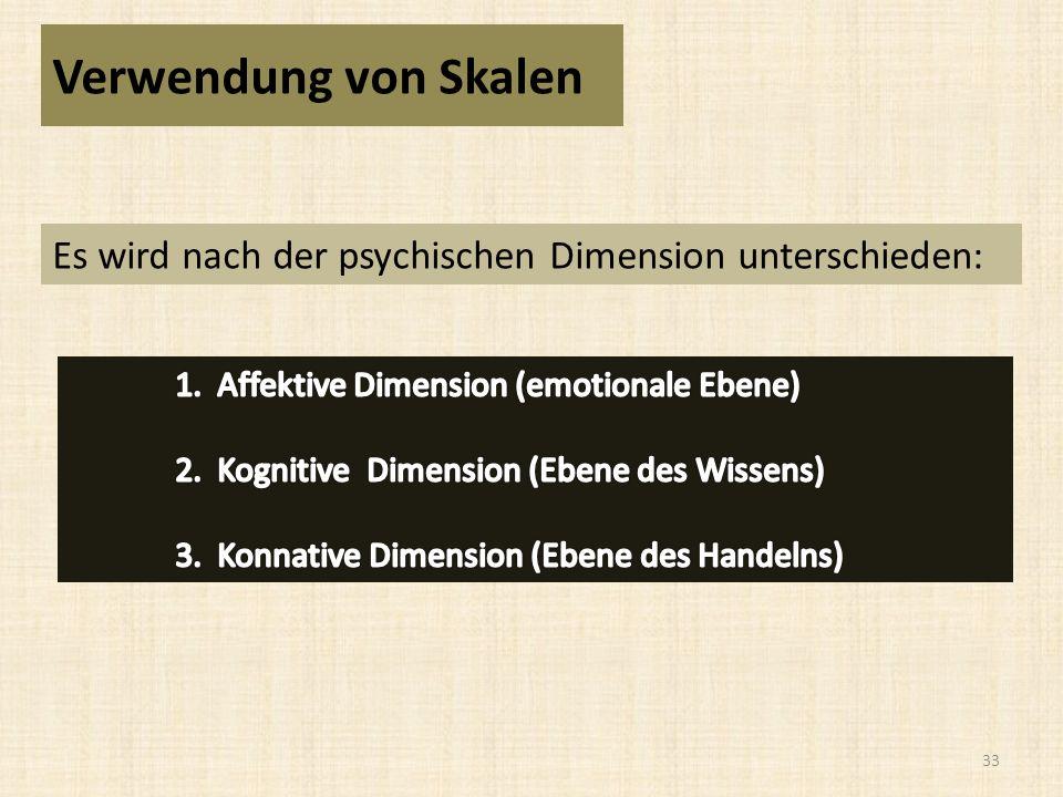 Verwendung von Skalen Es wird nach der psychischen Dimension unterschieden: 1. Affektive Dimension (emotionale Ebene)