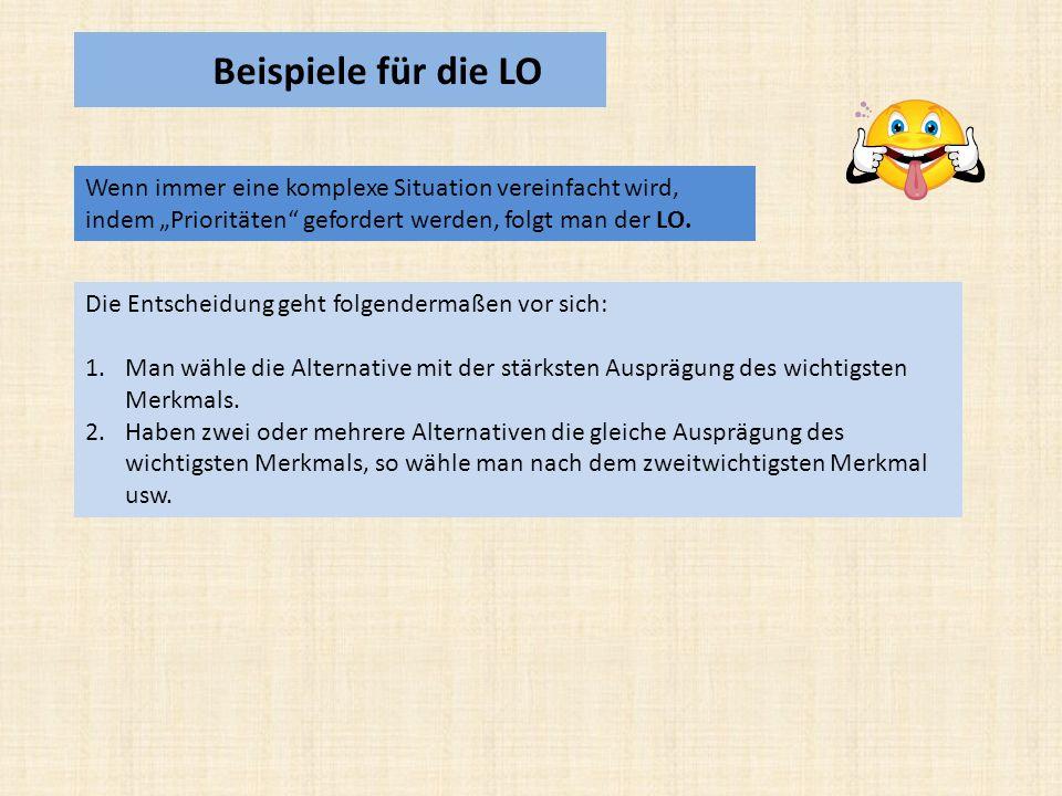 """Beispiele für die LO Wenn immer eine komplexe Situation vereinfacht wird, indem """"Prioritäten gefordert werden, folgt man der LO."""
