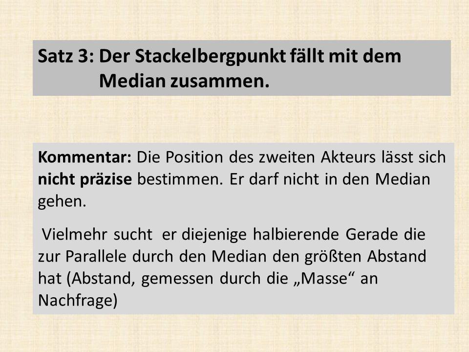 Satz 3: Der Stackelbergpunkt fällt mit dem Median zusammen.