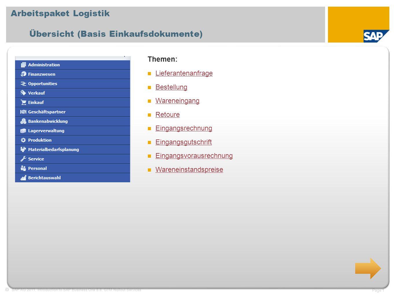 Arbeitspaket Logistik Übersicht (Basis Einkaufsdokumente)