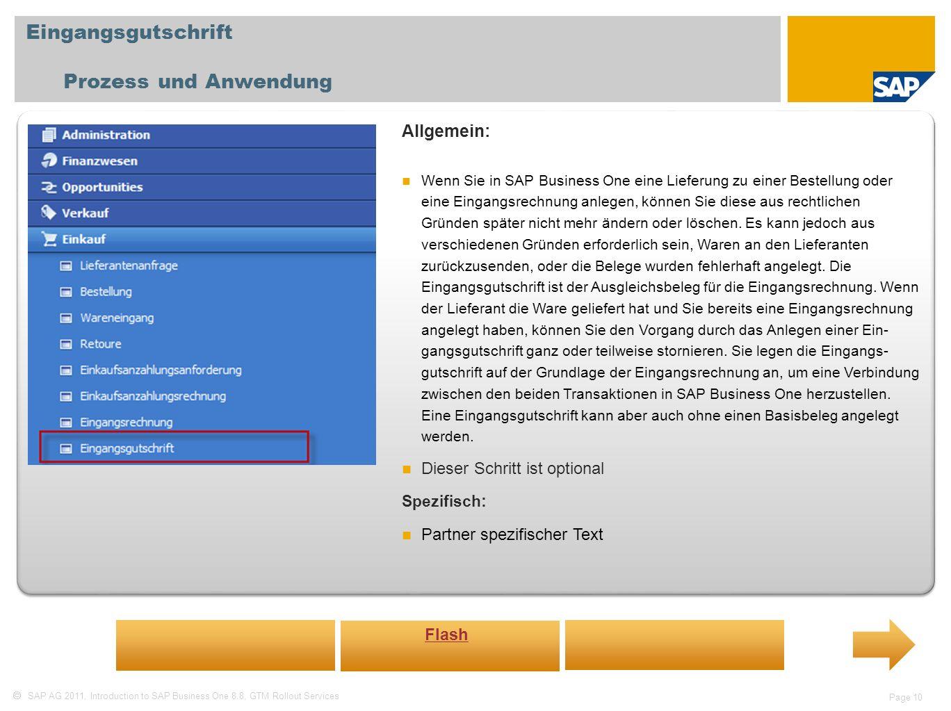 Eingangsgutschrift Prozess und Anwendung Allgemein: