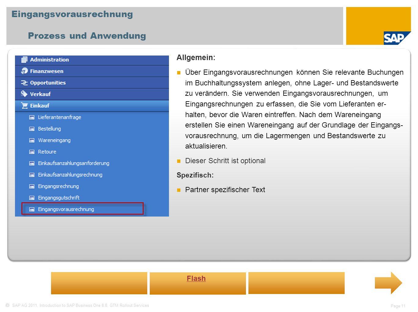 Eingangsvorausrechnung Prozess und Anwendung