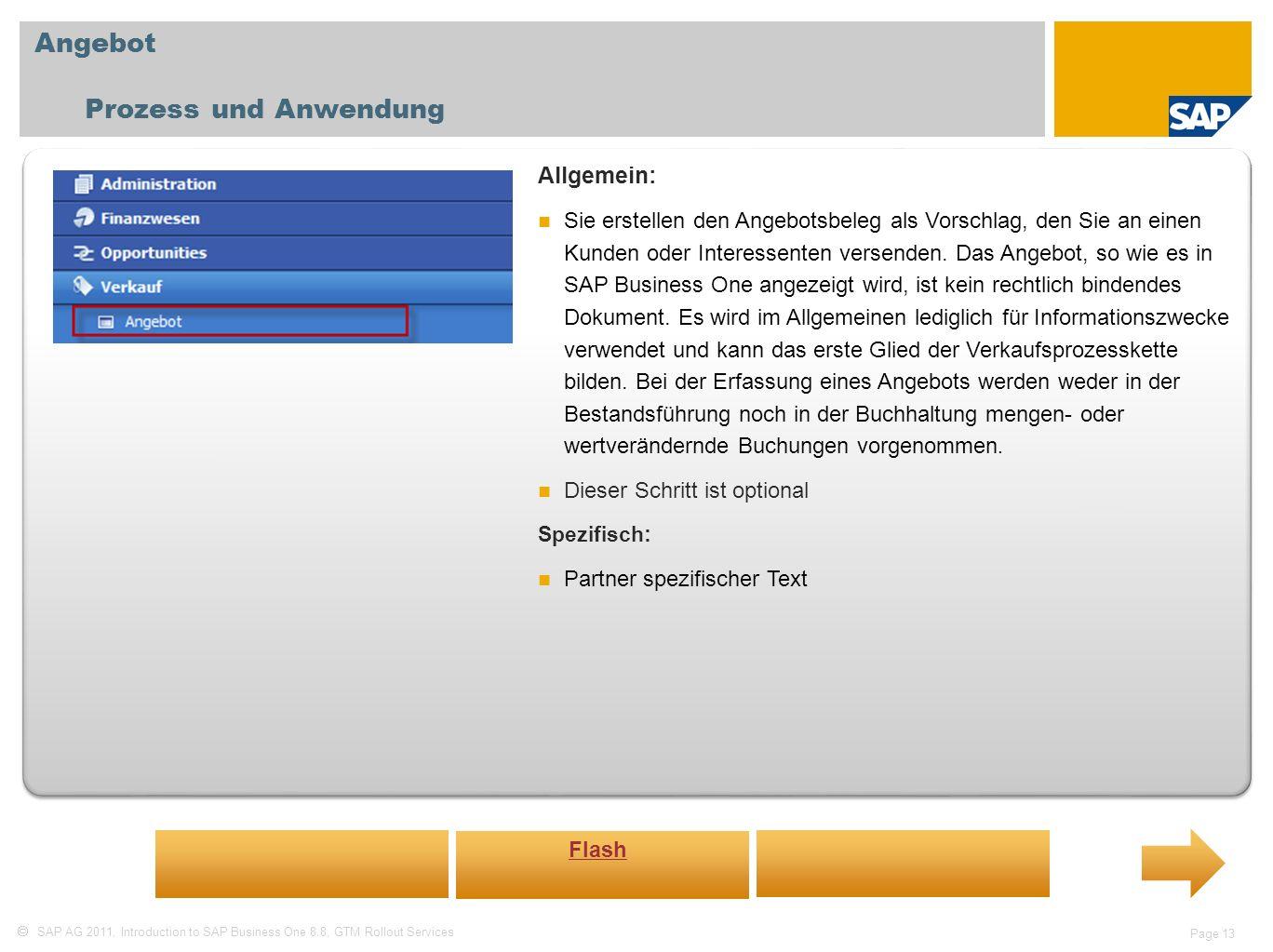 Angebot Prozess und Anwendung Allgemein: