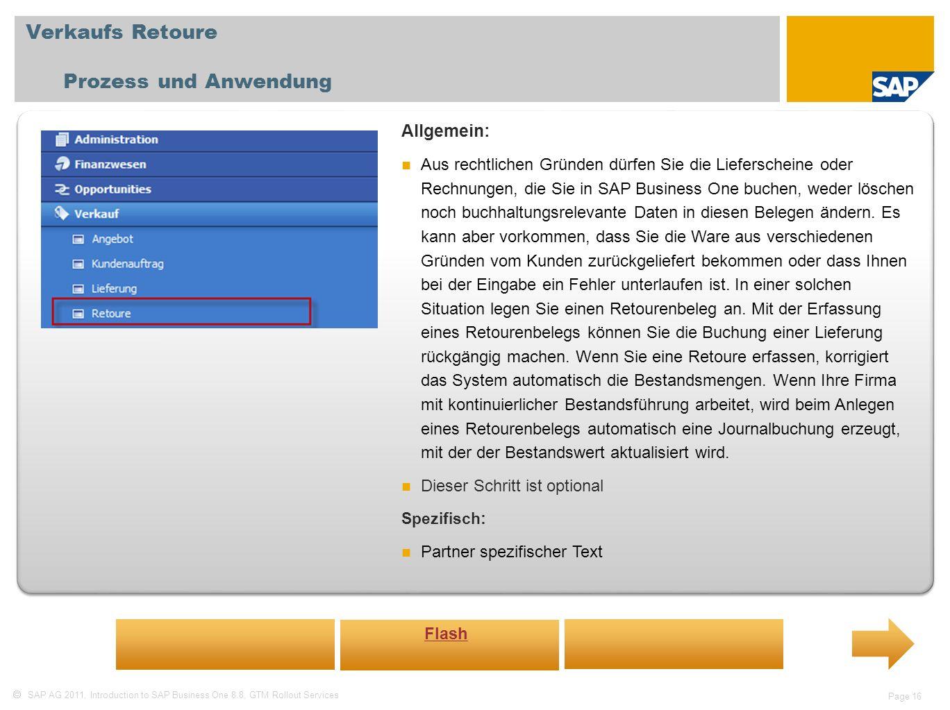 Verkaufs Retoure Prozess und Anwendung Allgemein: