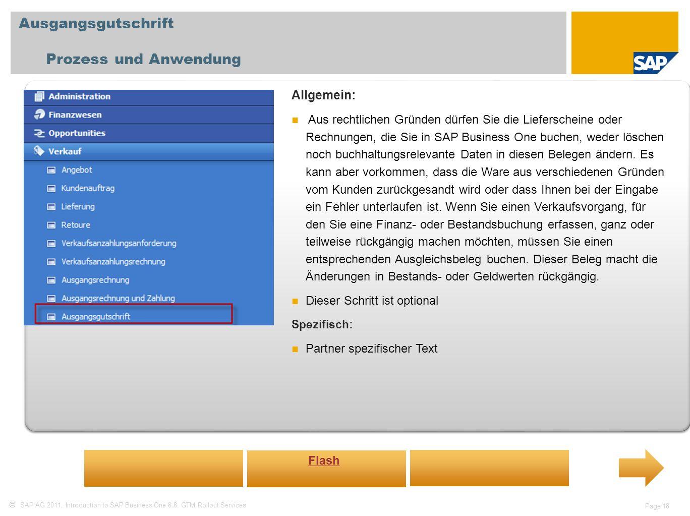 Ausgangsgutschrift Prozess und Anwendung Allgemein: