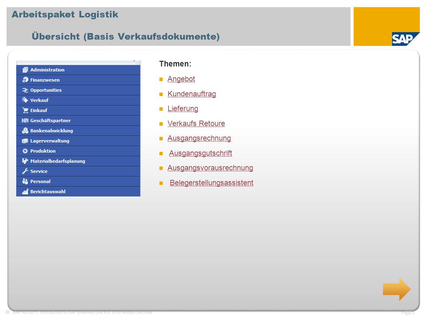 Arbeitspaket Logistik Übersicht (Basis Verkaufsdokumente)