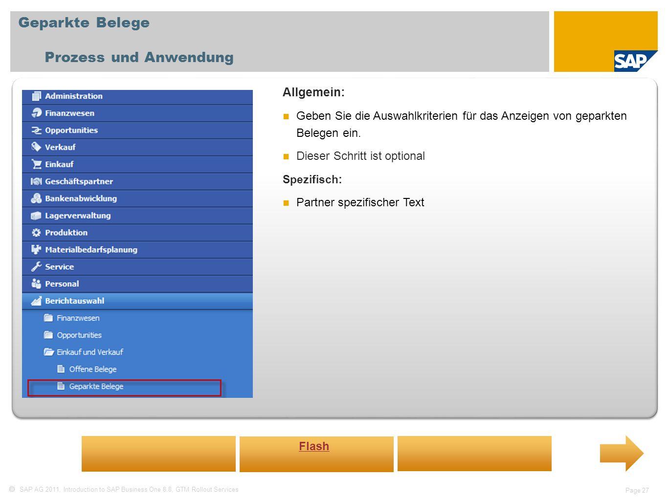 Geparkte Belege Prozess und Anwendung Allgemein: