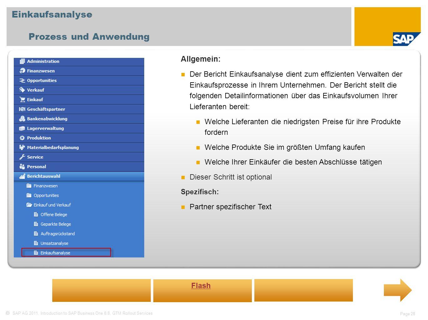 Einkaufsanalyse Prozess und Anwendung Allgemein: