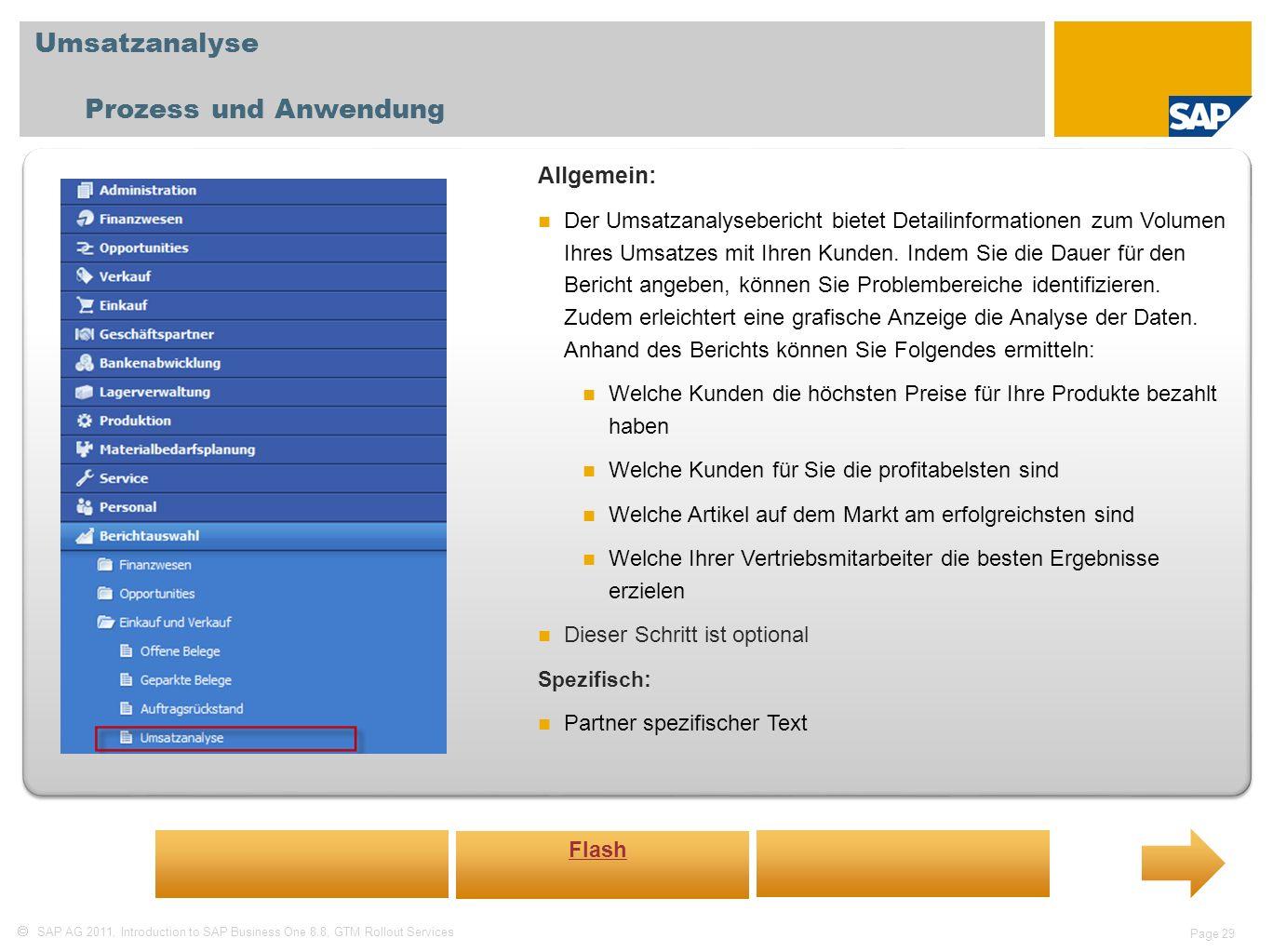 Umsatzanalyse Prozess und Anwendung Allgemein: