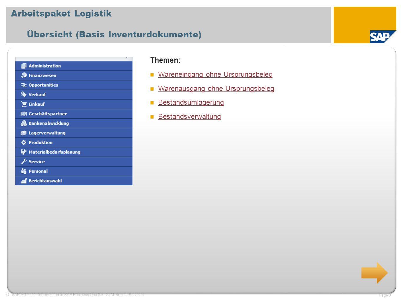 Arbeitspaket Logistik Übersicht (Basis Inventurdokumente)