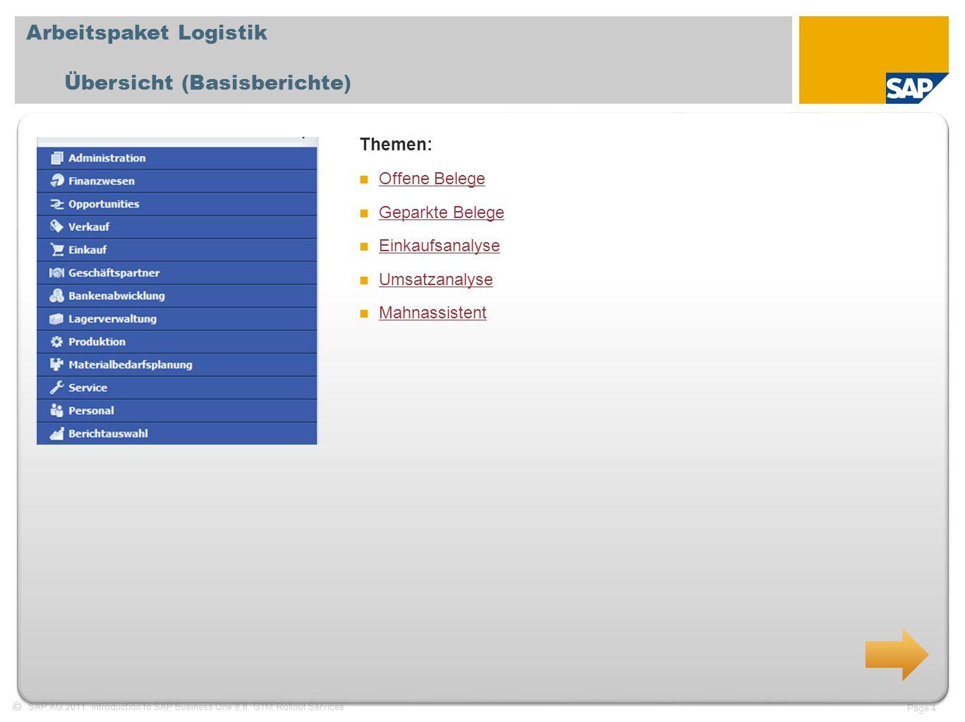Arbeitspaket Logistik Übersicht (Basisberichte)