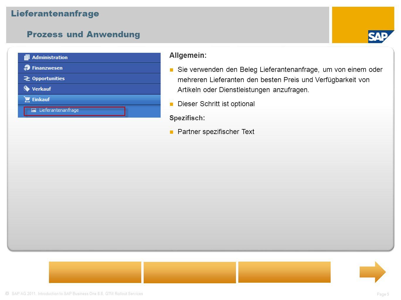 Lieferantenanfrage Prozess und Anwendung Allgemein: