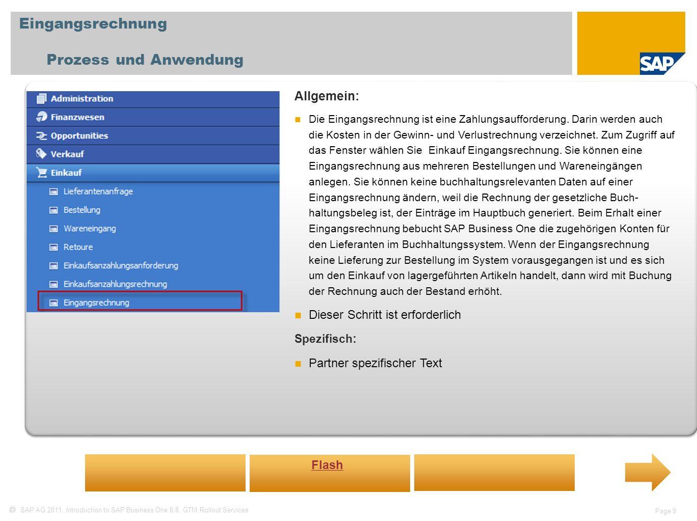 Eingangsrechnung Prozess und Anwendung Allgemein: