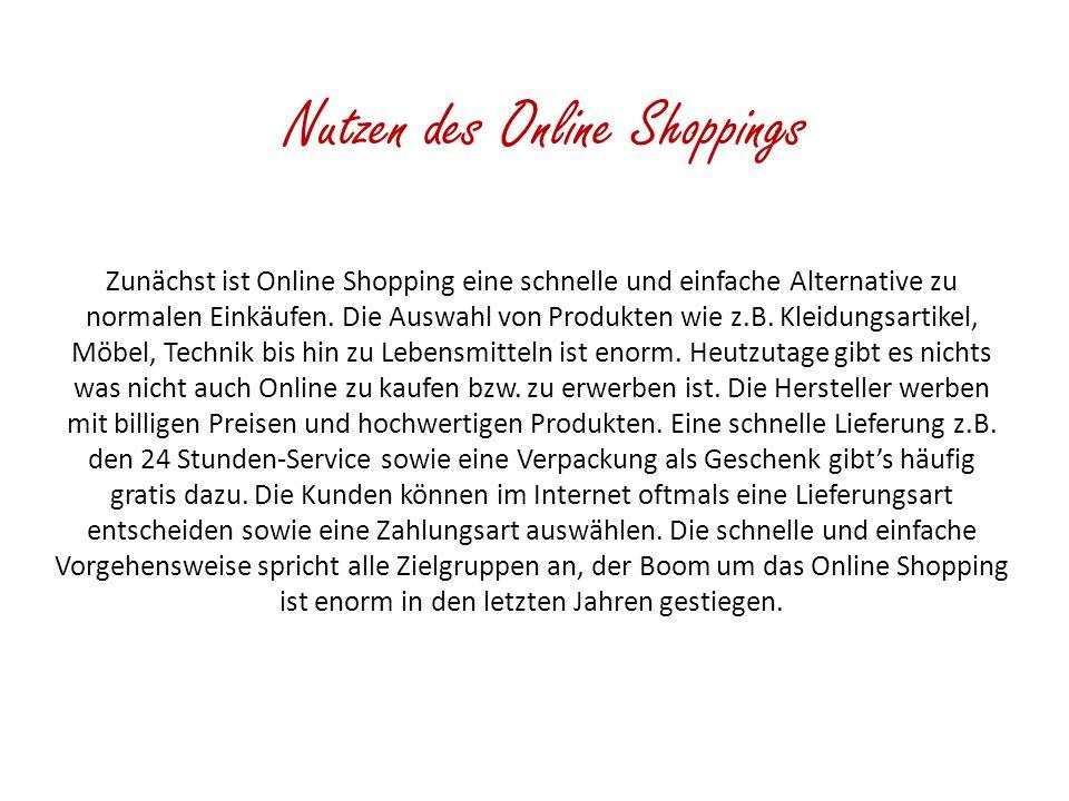 Nutzen des Online Shoppings