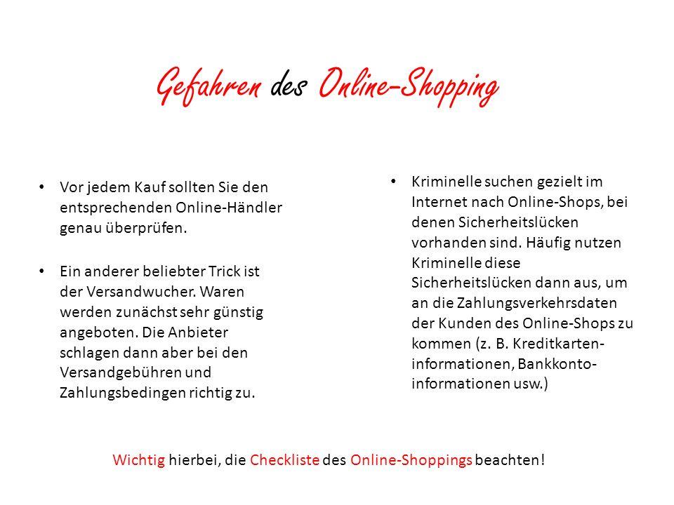 Gefahren des Online-Shopping
