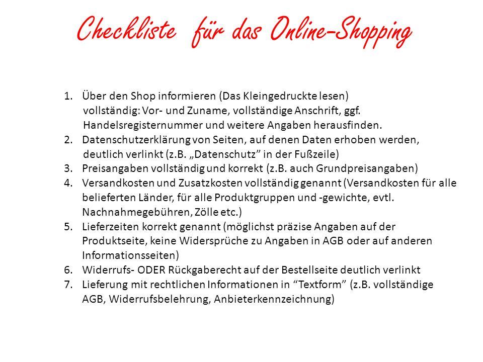 Checkliste für das Online-Shopping