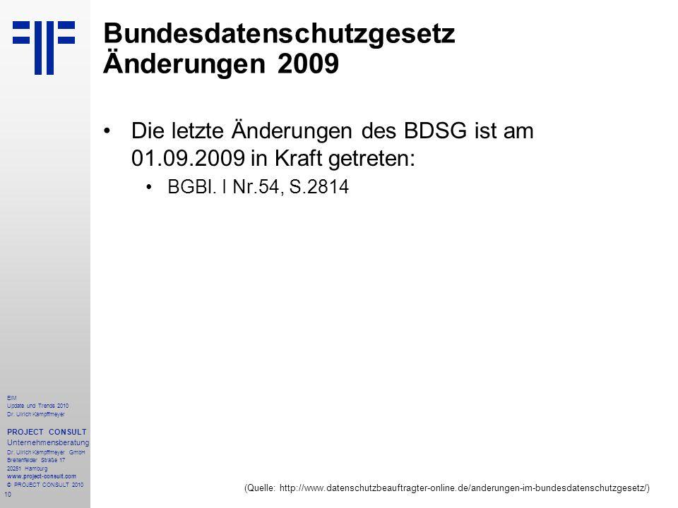 Bundesdatenschutzgesetz Änderungen 2009