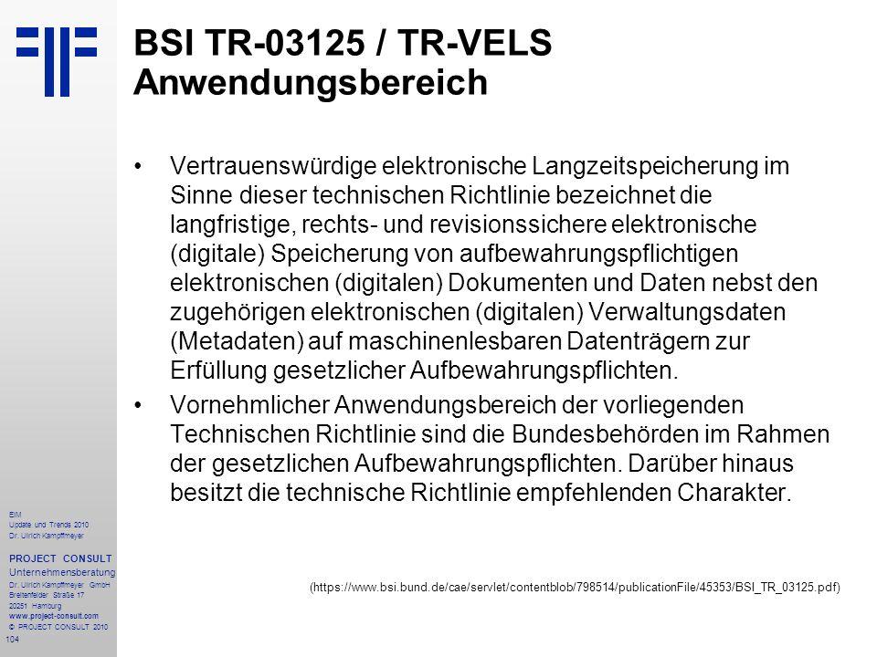 BSI TR-03125 / TR-VELS Anwendungsbereich
