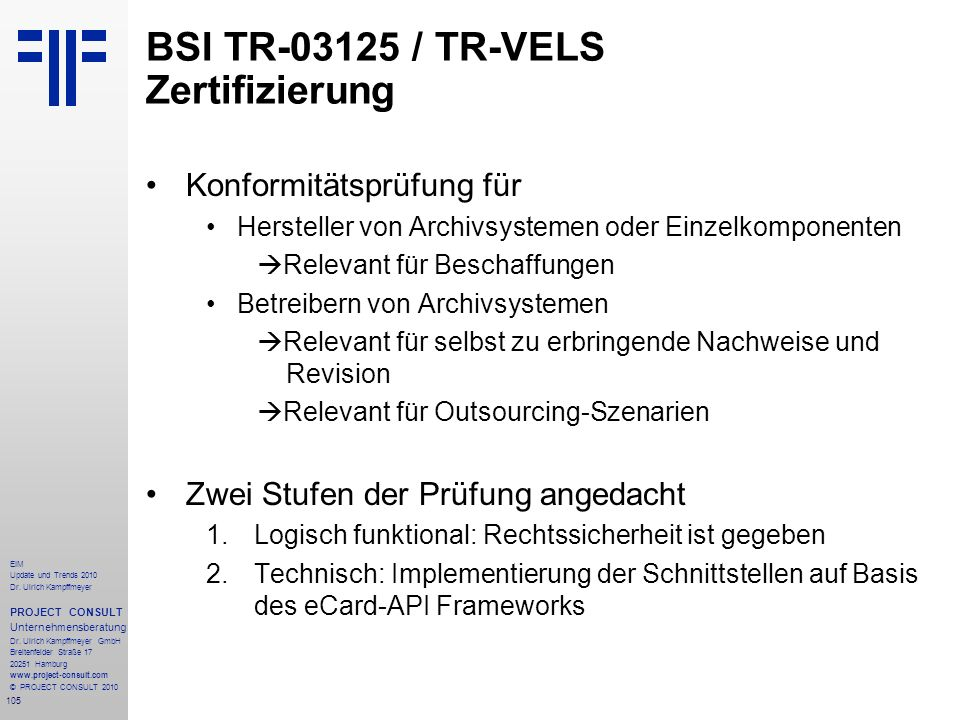 BSI TR-03125 / TR-VELS Zertifizierung