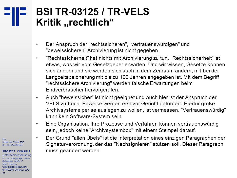 "BSI TR-03125 / TR-VELS Kritik ""rechtlich"