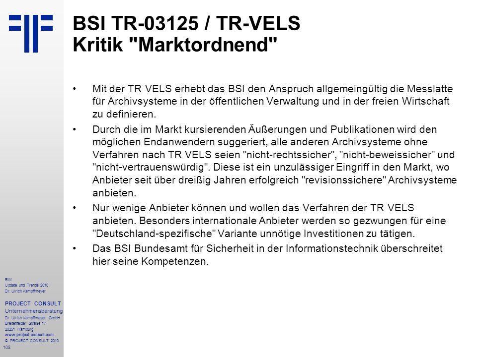 BSI TR-03125 / TR-VELS Kritik Marktordnend