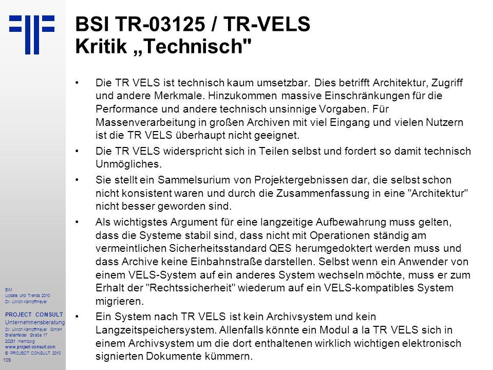 """BSI TR-03125 / TR-VELS Kritik """"Technisch"""