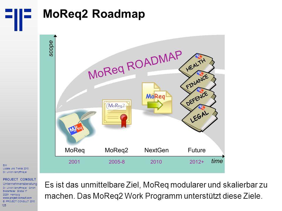 MoReq2 Roadmap Es ist das unmittelbare Ziel, MoReq modularer und skalierbar zu machen.