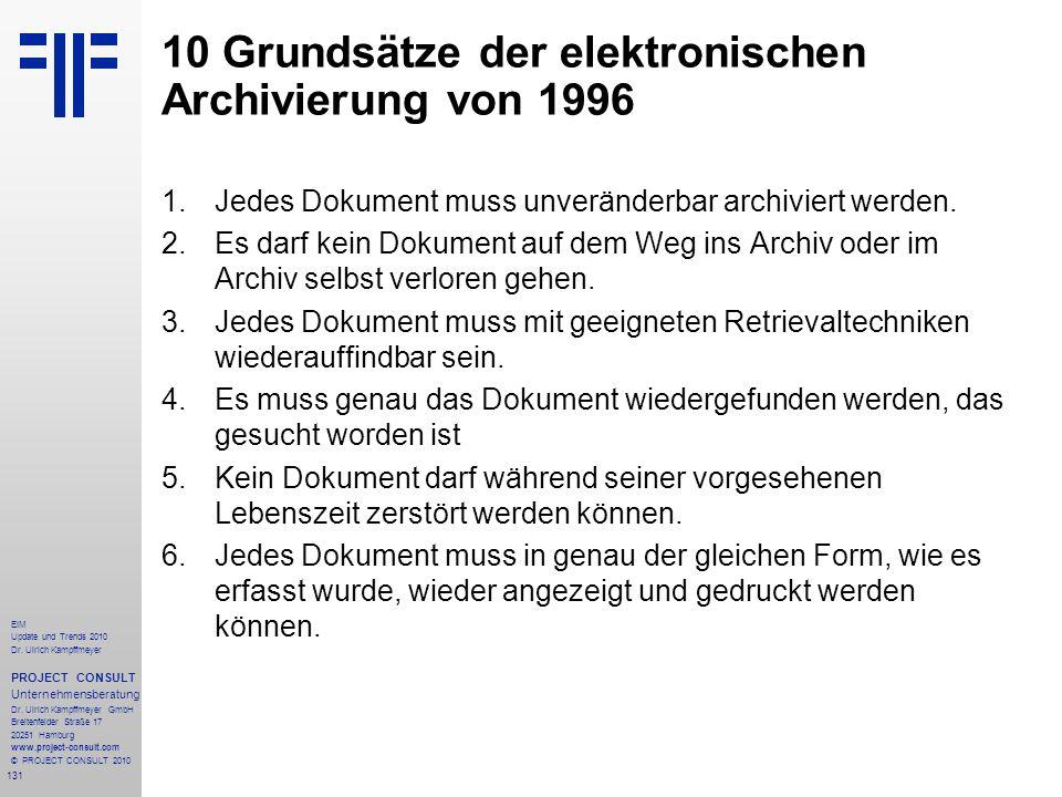 10 Grundsätze der elektronischen Archivierung von 1996