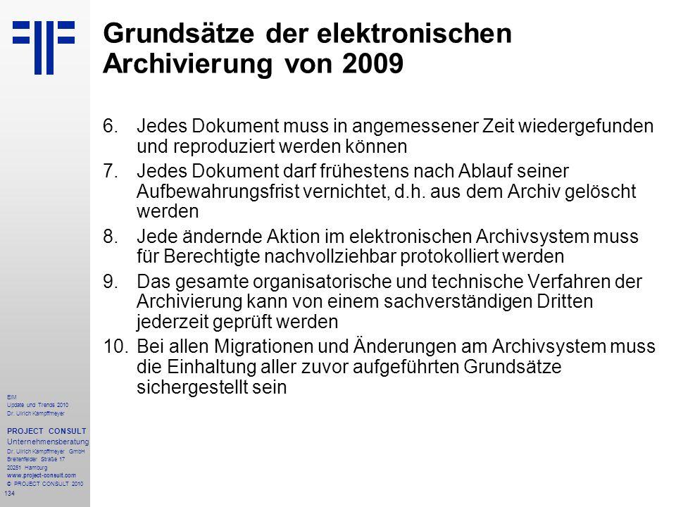 Grundsätze der elektronischen Archivierung von 2009