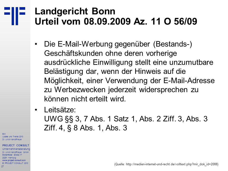 Landgericht Bonn Urteil vom 08.09.2009 Az. 11 O 56/09