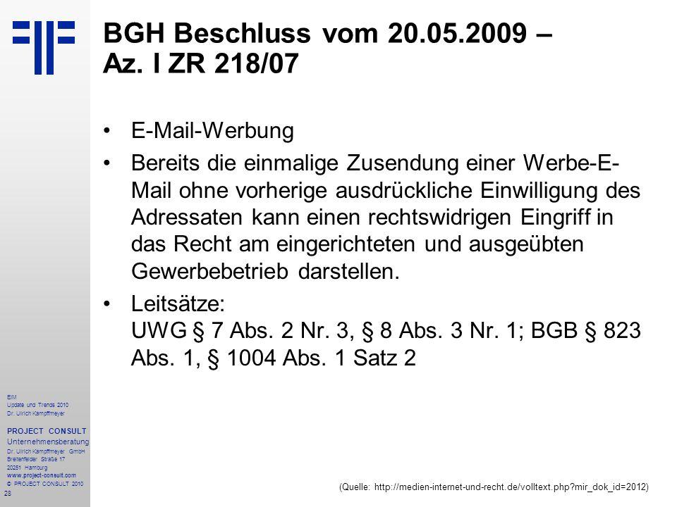 BGH Beschluss vom 20.05.2009 – Az. I ZR 218/07