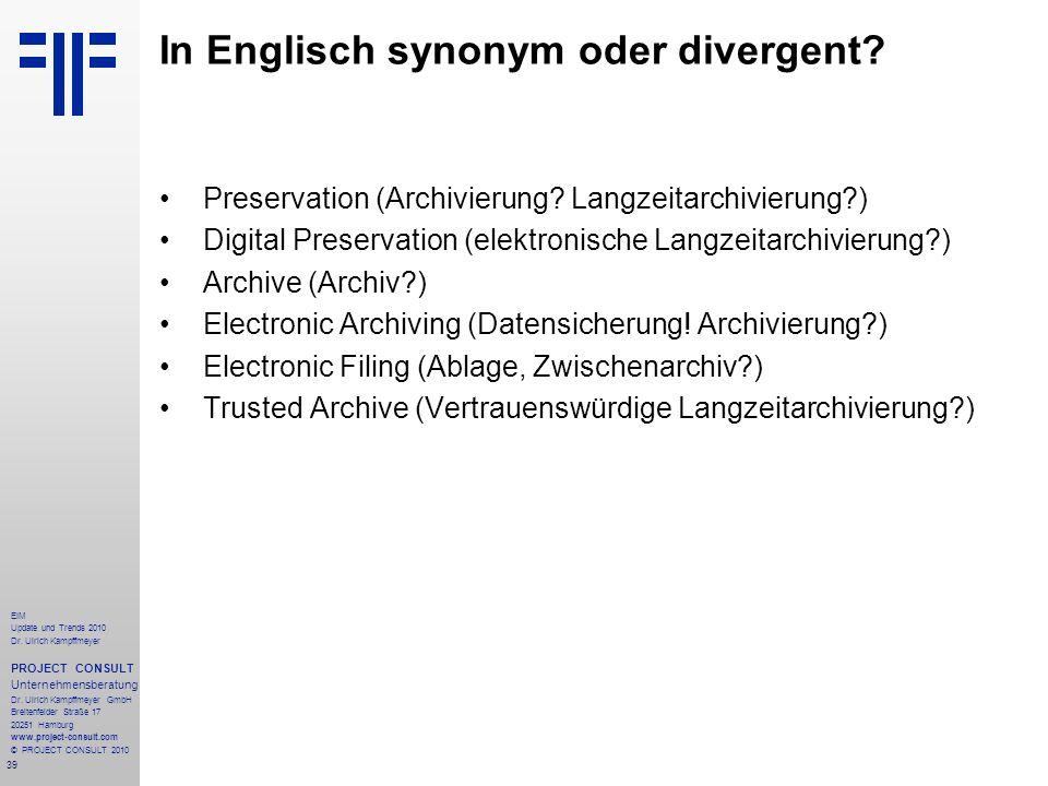 In Englisch synonym oder divergent