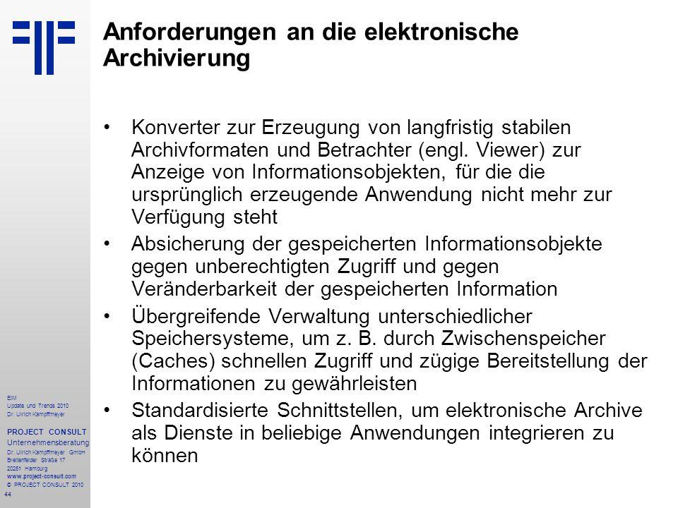 Anforderungen an die elektronische Archivierung
